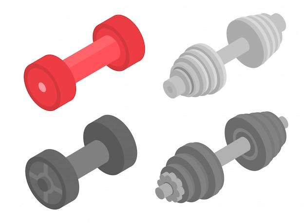Conjunto de ícones de dumbell. isométrico conjunto de ícones de vetor de dumbell para web design isolado no fundo branco