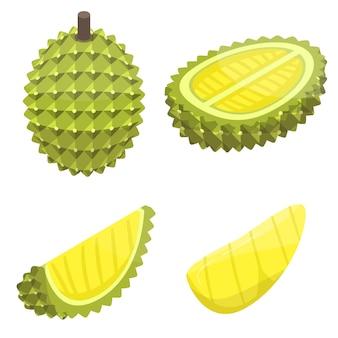 Conjunto de ícones de durian, estilo isométrico