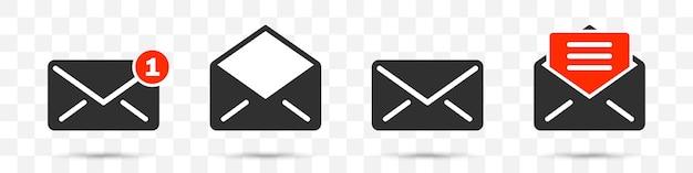 Conjunto de ícones de e-mail de notificação ou sms em um fundo transparente