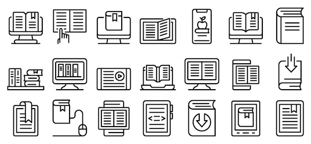 Conjunto de ícones de ebook, estilo de estrutura de tópicos