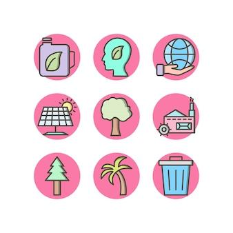 Conjunto de ícones de eco em elementos isolados de vetor de fundo branco