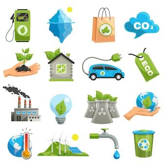 Conjunto de ícones de eco isolado