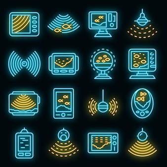 Conjunto de ícones de eco sonora. conjunto de contorno de ícones de vetor de ecobatímetro, cor de néon no preto