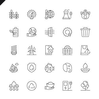 Conjunto de ícones de ecologia de linha fina