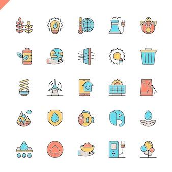 Conjunto de ícones de ecologia de linha plana