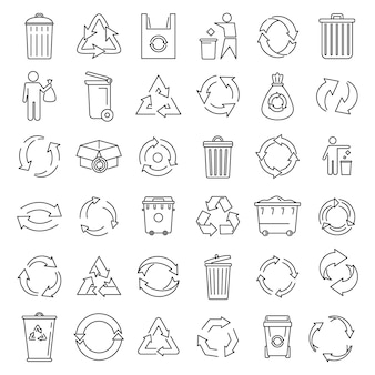 Conjunto de ícones de ecologia de reciclagem