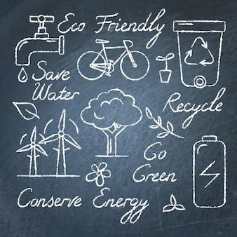Conjunto de ícones de ecologia e texto na lousa