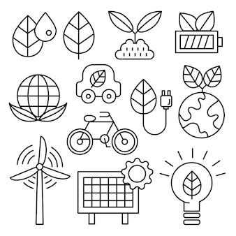 Conjunto de ícones de ecologia.