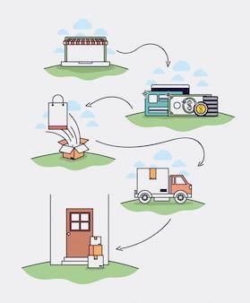 Conjunto de ícones de ecommerce desenhado desenho de ilustração vetorial