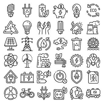 Conjunto de ícones de economia de energia. conjunto de contorno de ícones de vetor de poupança de energia para web design isolado