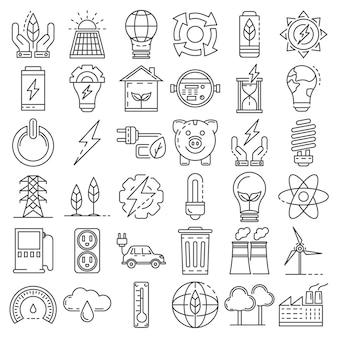 Conjunto de ícones de economia de energia. conjunto de contorno de ícones de vetor de poupança de energia