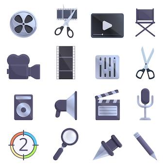 Conjunto de ícones de edição de vídeo, estilo cartoon