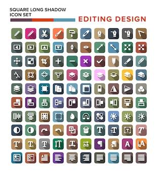 Conjunto de ícones de edição em design plano com sombra longa