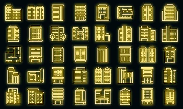 Conjunto de ícones de edifícios de vários andares com néon de vetor