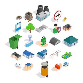 Conjunto de ícones de edifícios, estilo isométrico