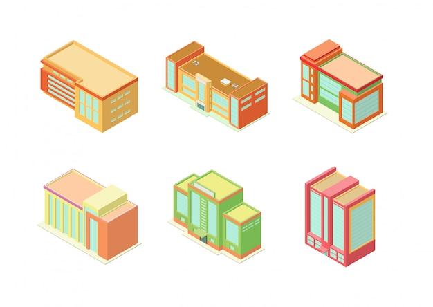 Conjunto de ícones de edifícios isométricos hotel, apartamento ou arranha-céus