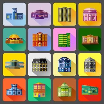 Conjunto de ícones de edifícios públicos em estilo simples