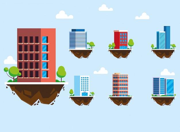Conjunto de ícones de edifícios sobre o terreno, paisagem urbana