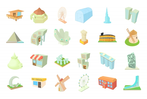 Conjunto de ícones de edifícios