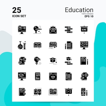 Conjunto de ícones de educação 25 logotipo negócios conceito idéias glifo sólido ícone