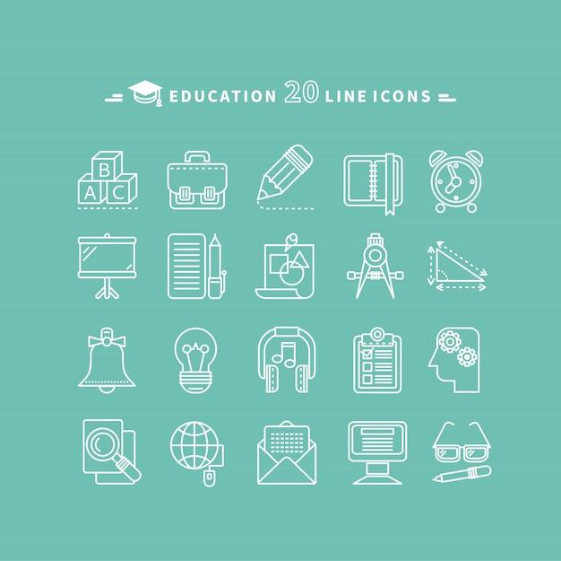 Conjunto de ícones de educação de contorno