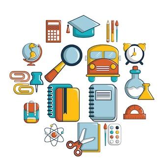 Conjunto de ícones de educação escolar, estilo cartoon