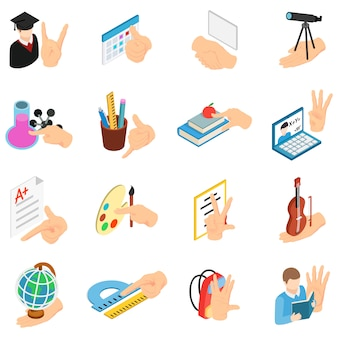 Conjunto de ícones de educação escolar, estilo isométrico