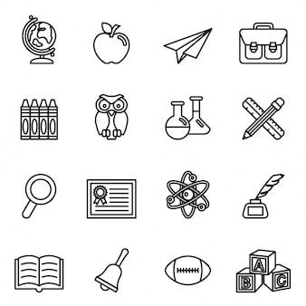 Conjunto de ícones de educação escolar. vetor de estoque de estilo de linha fina.