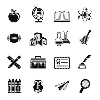 Conjunto de ícones de educação escolar.