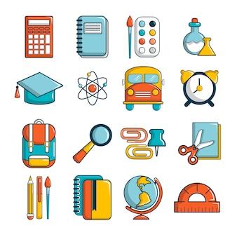 Conjunto de ícones de educação escolar