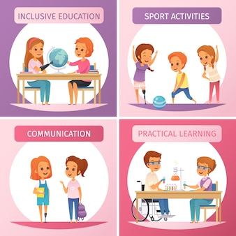 Conjunto de ícones de educação inclusiva de quatro quadrados com atividades de esporte de comunicação de educação inclusiva e ilustração de descrições de aprendizado prático