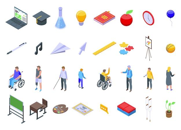 Conjunto de ícones de educação inclusiva, estilo isométrico