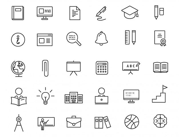 Conjunto de ícones de educação linear.