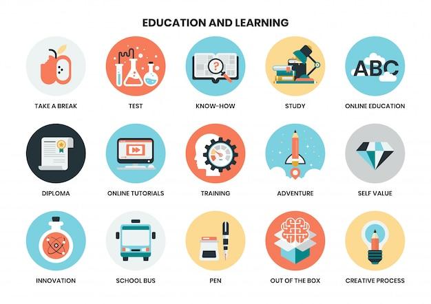 Conjunto de ícones de educação para negócios
