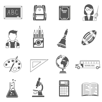 Conjunto de ícones de educação preto