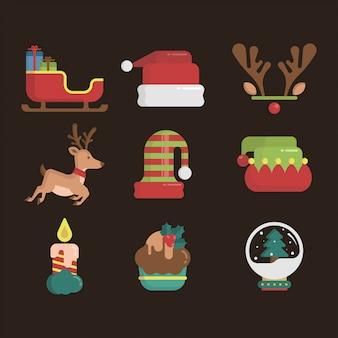 Conjunto de ícones de elemento de natal