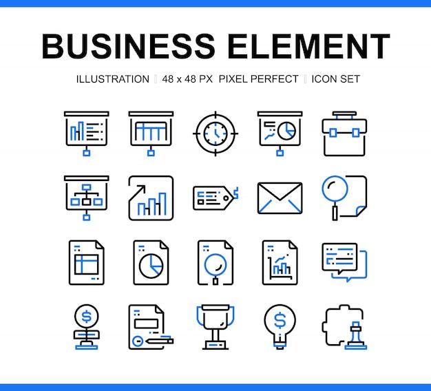 Conjunto de ícones de elemento de negócios com cor azul