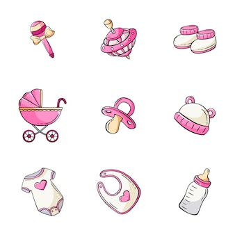 Conjunto de ícones de elementos de bebê desenhado à mão em estilo de desenho de doodle