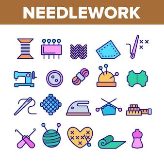 Conjunto de ícones de elementos de bordado