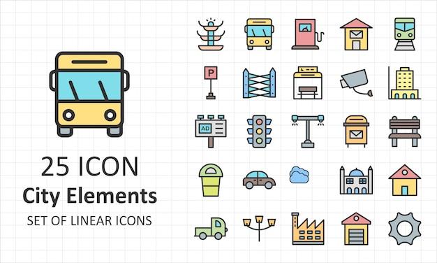 Conjunto de ícones de elementos de cidade pixel perfeito