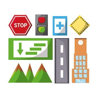 Conjunto de ícones de elementos de cidade