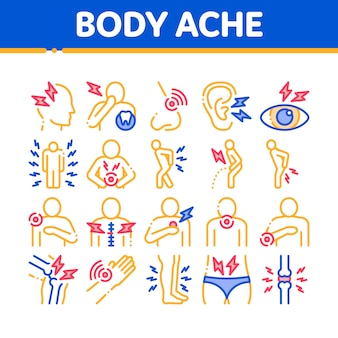 Conjunto de ícones de elementos de coleção de dor no corpo