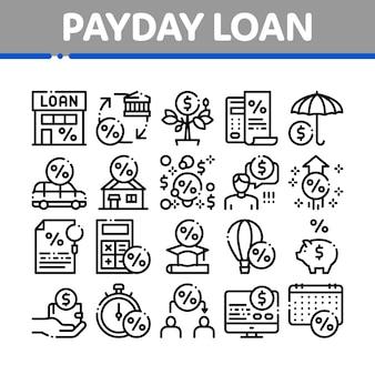Conjunto de ícones de elementos de coleção de empréstimo do dia de pagamento