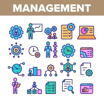 Conjunto de ícones de elementos de coleção de gestão