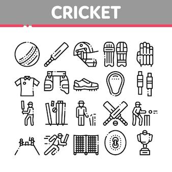 Conjunto de ícones de elementos de coleção de jogos de críquete