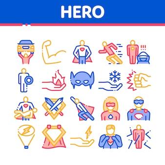 Conjunto de ícones de elementos de coleção de super herói