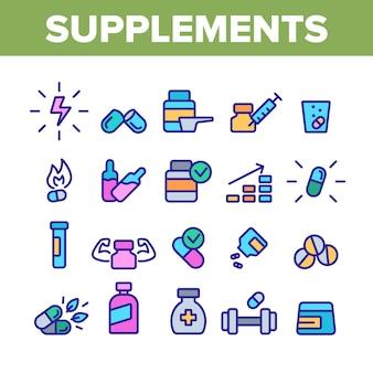 Conjunto de ícones de elementos de coleção de suplementos