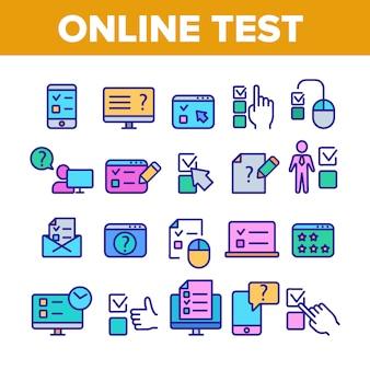 Conjunto de ícones de elementos de coleção de teste on-line