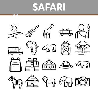 Conjunto de ícones de elementos de coleção de viagens safari