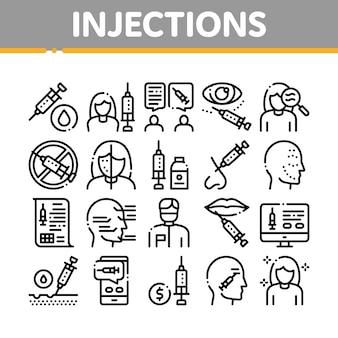 Conjunto de ícones de elementos de coleta de injeções